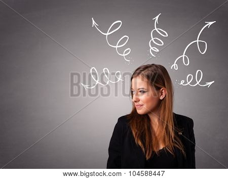 Beautiful young woman thinking with arrows overhead