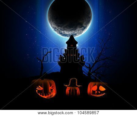 3D Halloween background with pumpkins and a silhouette of a spooky castle against a fictional planet in the night sky