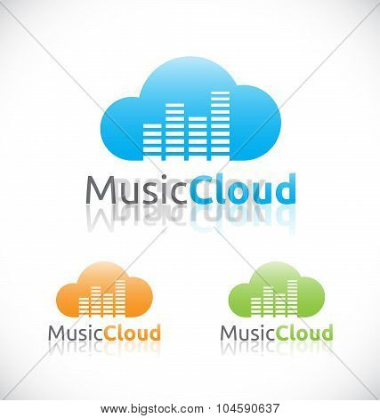 Abstract Audio Music Cloud Online Service And Technology Logo Design.