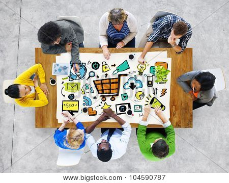 Diversity Casual People Online Marketing Brainstorming Discussion Concept
