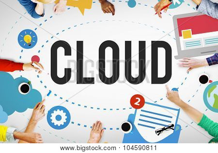 Cloud Computing Network Storage Social Concept