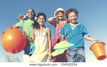 Cheerful Family Bonding Beach Vacation Holiday Concept