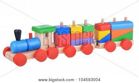 Colorful wooden logic toy train
