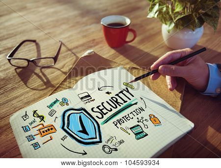 Businessman Writing Security Protection Planning Concept