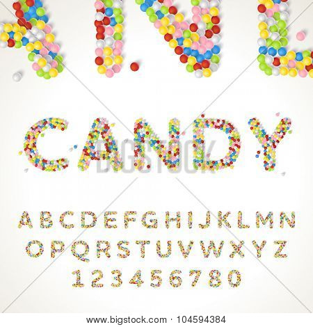 Vector font style made of thousands of decorative candy balls. Latin alphabet from A to Z with number.