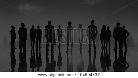 Group Business People Silhoeutte Looking Up Vision Concept