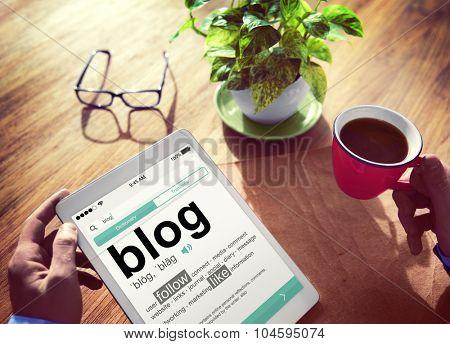 Digital Dictionary Blog Follow Like Concept