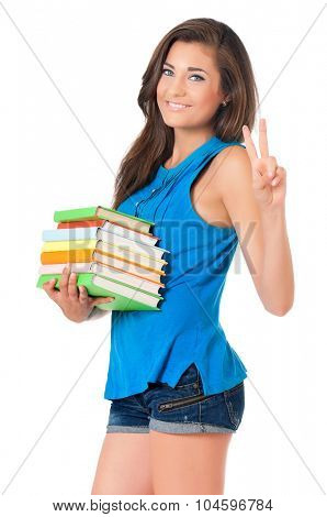 Beautiful student girl with books, isolated on white background
