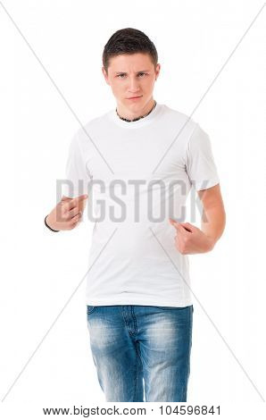 White T-shirt on a young man, isolated on white background