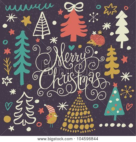 Lovely Merry Christmas card in vector. Bright holiday background with fir trees, stars, hedgehog and snowflakes.