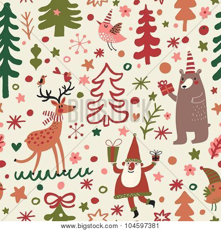 Sweet Christmas seamless pattern with holiday symbols: Santa Claus, reindeer, toys, gift, stars, hearts, fir trees. Lovely vector holiday background in bright colors