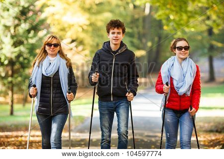 Nordic walking - active people working out