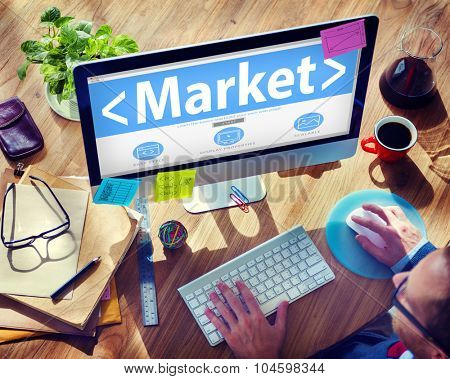 Market Marketing Analysing Advertising Business Concept
