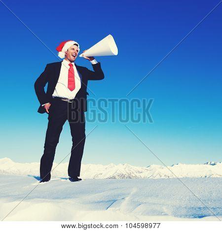 Businessman Megaphone Holiday Season Concept