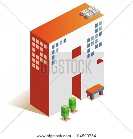 Romeo latin alphabet letter in skyscraper shape