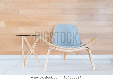 Modern Chair And Table With Wood Wall In Living Room