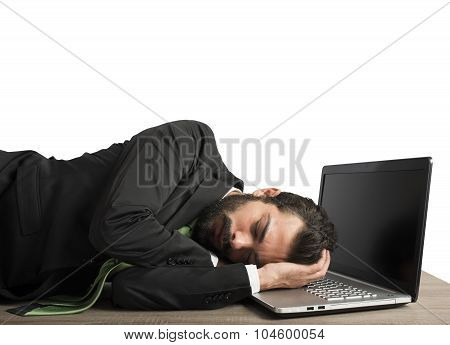 Workload businessman sleeping