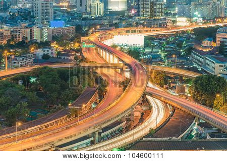 Elevated Expressway. The Curve Of Suspension Bridge, Thailand.