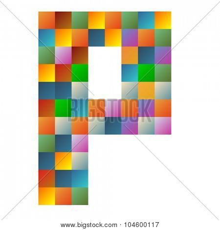 P, papa letter rainbow colorful sparkling vector illustration