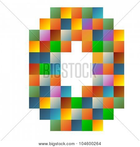 O, oscar letter rainbow colorful sparkling vector illustration