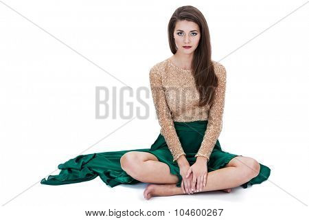 sitting girl on a white background