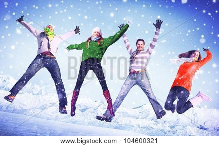 People Winter Jumping Snow Playful Concept