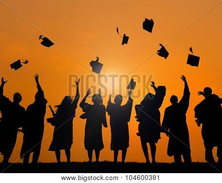 Group Students Celebrating Graduation Silhouette Concept