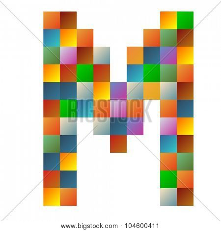 M letter rainbow colorful sparkling vector illustration