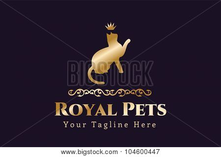 Abstract pet cat logo concept. Veterinary pets, animal vector logo, cat logo, pet logo, veterinary logo. Cute luxury royal cat pets vector logo. Shield, vip, luxury. Cat silhouette logo, kitty icon