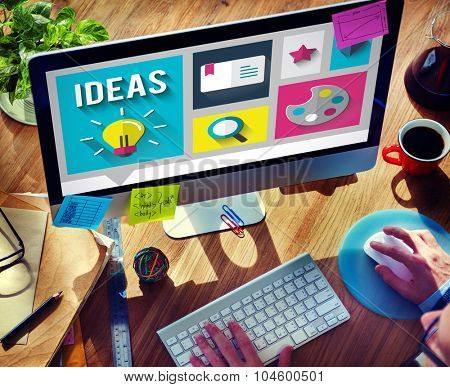 Ideas Design Search Engine Internet Comunication Working Man PC Concept