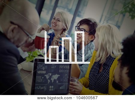Bar Graph Marketing Analyzing Growth Increase Concept