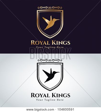 Royal Bird logo vector icon. Kings bird symbol. Royal crests bird monogram. Kings Bird logo. Shield logo. Hotel logo, Premium brand boutique, Fashion logo, Lawyer logo. Vintage logo, bird logo