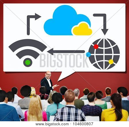 Cloud Computing Global Wireless Network Concept
