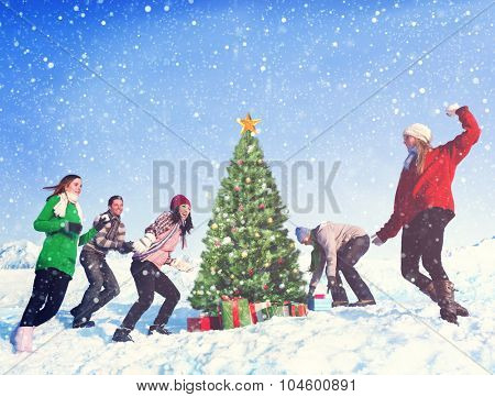 Friends Christmas Winter Holidays Celebration Concept