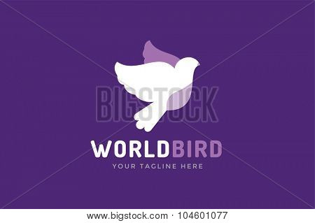 Dove vector logotupe. Dove logo. Dove symbol. Bird dove monogram. Peace world bird. Bird vector logo. Dove silhouette logo, Globe union brand logo, care clinic logo, togetherness concept logo
