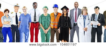 Group of Multiethnic Mixed Occupations People Concept