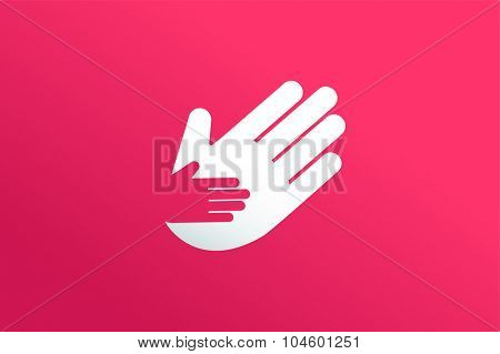 Hands care silhouette logo concept. Family mother and baby hands. Care logo, togetherrness concept logo. Union abstract hands logo. Hands closeup vector. Abstract hands logo