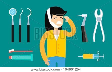 Dentist doctor tools illustration. Dentist patient girl with toothache vector. Dental care, tooth care tools, doctor office, tooth oral brush toothpaste. Dental clinic tools illustration vector