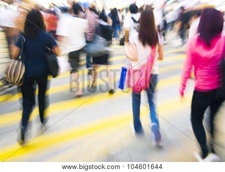 People in Hong Kong Cross Walking Concept