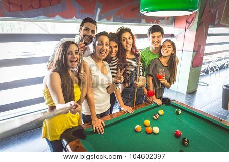 Friends At Pool Table