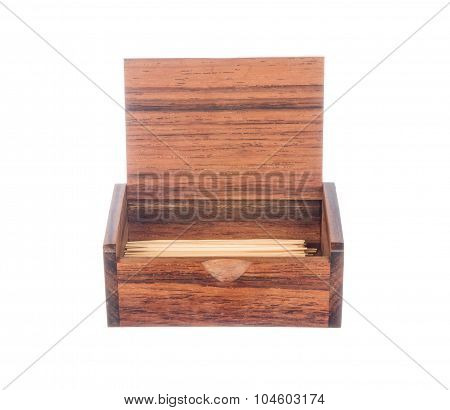 Toothpick In Vintage Box Isolated On Whitend