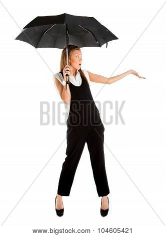 Young Girl In A Business Suit And Carrying An Umbrella In His Hand On A White Background