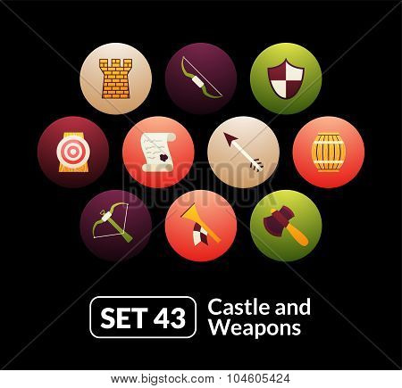 Flat icons set 43 - castle and wepon