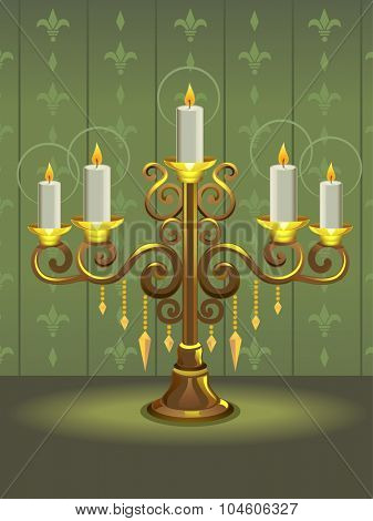 Illustration of a Golden Candelabra with Candles Shining Brightly
