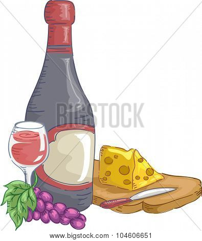 Illustration of a Bottle of Wine with a Chunk of Cheese Beside It