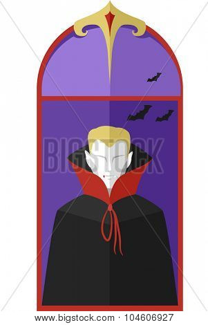 Illustration of a Vampire Framed by a Vintage Window