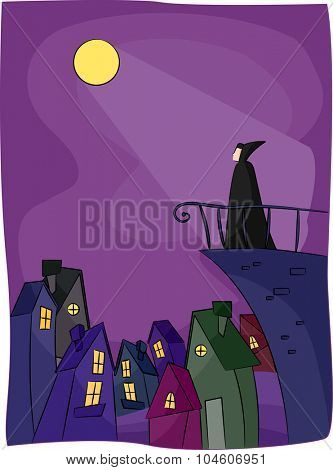 Illustration of a Vampire Standing Over the Edge of a Building