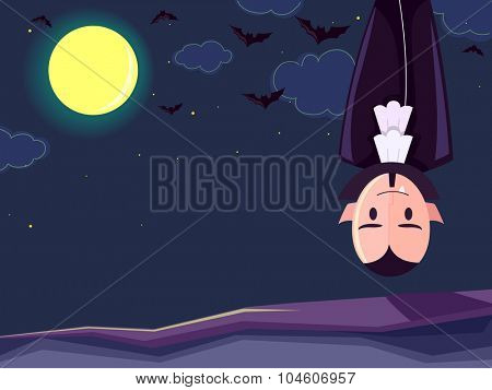 Illustration of a Vampire Hanging Upside Down