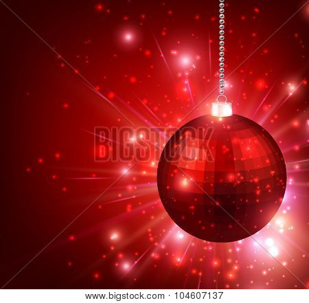 New Year background with red ball. Vector paper illustration.