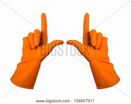 Orange Gloves For Cleaning On Mens Arm Show Finger Up, Isolated Over White